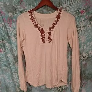 Lucky Brand embroidery floral top